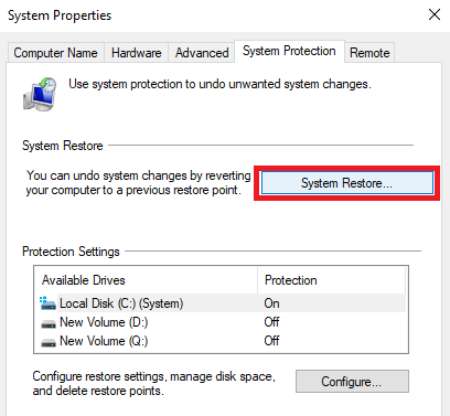 recover files using system restore