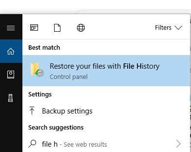 restore file from file history