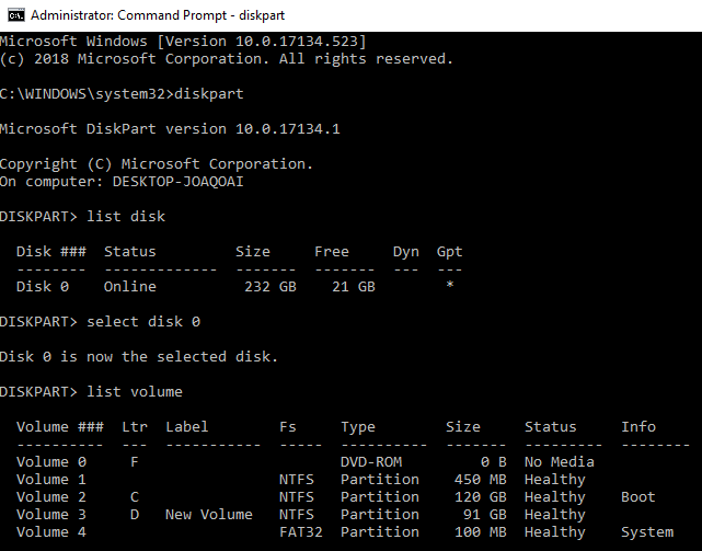 recovering partition using CMD