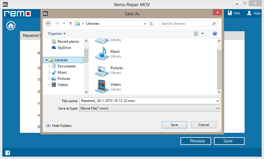 save repaired MOV file