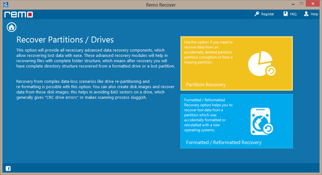select drive to perform damaged partition recovery