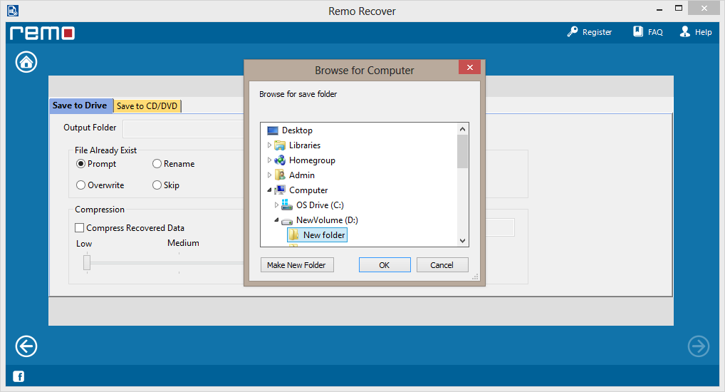 save recovered data from damaged partition on to desired location