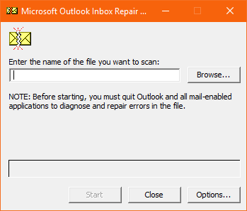 click on browse and select the Outlook data file that needs to be repaired and click on start