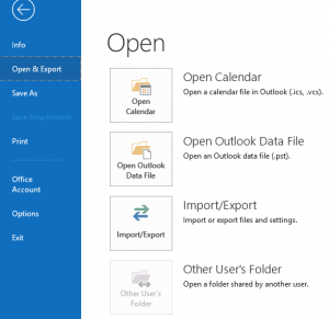 open Outlook and click on Open and Export