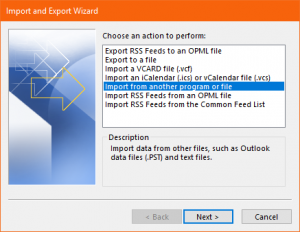import from another PST file and click on Next
