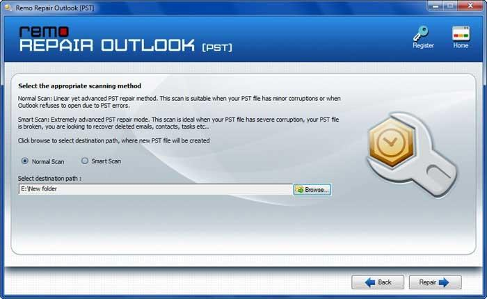 repair button to recover outlook mail