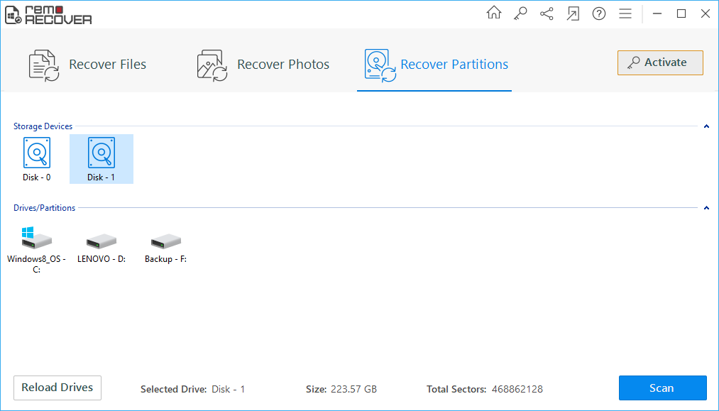 screenshot of first step in using remo recover to recover data from deleted partition