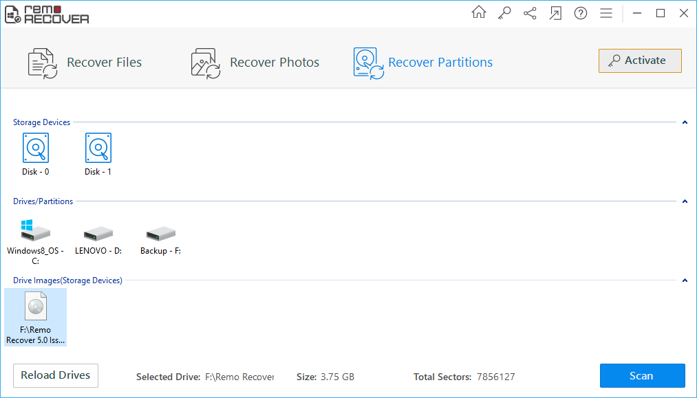 scanning formatted sd card to recover video files