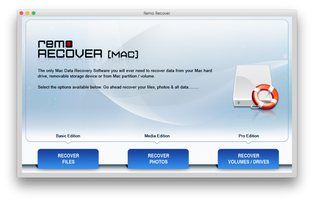 Main screen of Remo Recover Mac tool to restore files after reinstalling macOS