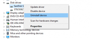 uninstall disk drivers to fix memory card error