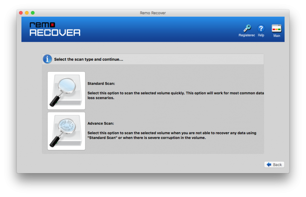 choose advanced scan to recover data after journal file corruption