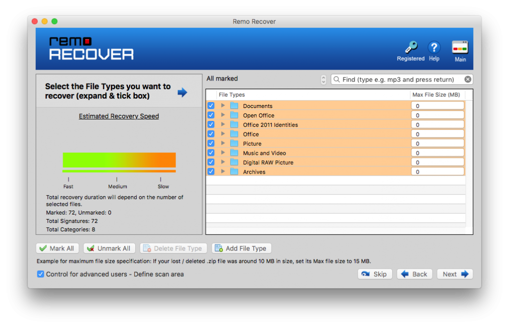 select the file types that you want to recover after facing journal file corruption
