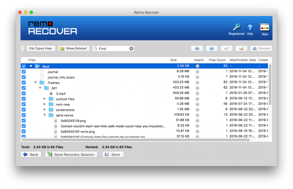 preview the data recovered for a volume affected with journal file corruption