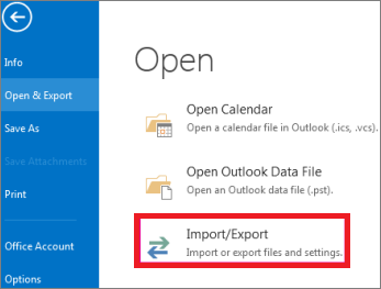 click on import/export to backup outlook emails