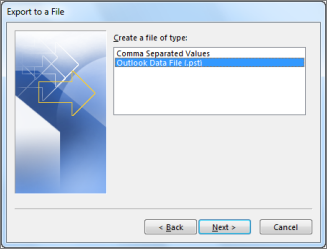 backup the file to Outlook data file (.pst)