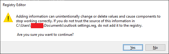 manually transferred outlook