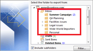 Choose the folders to backup outlook data