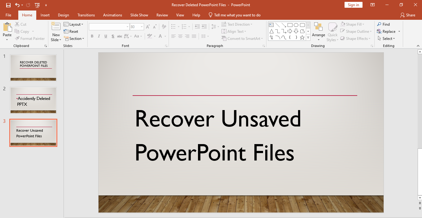 Recover unsaved PowerPoint files