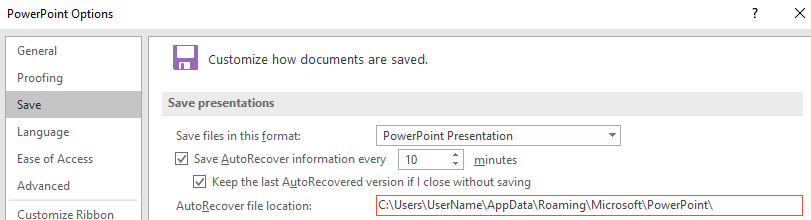 recover not saved powerpoint files using AutoRecover