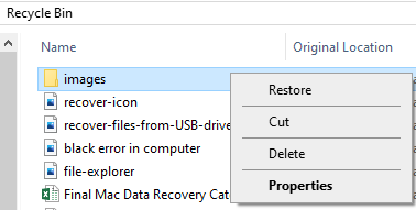 Select the files that you want to get back and click Restore