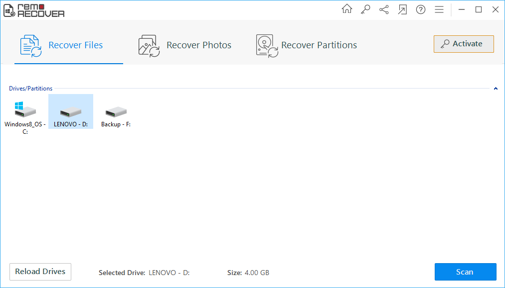 Launch Remo Recover to recover deleted or missing files from external hard disk