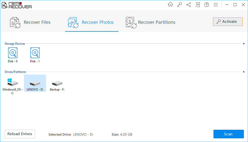 recover deleted photos using Remo Photo Recovery tool